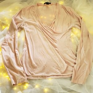 Ralph lauren side ruched long sleeve blouse